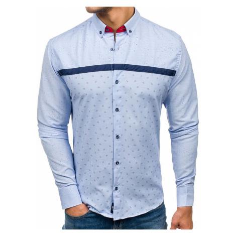 Pánská modrá vzorovaná košile s dlouhým rukávem Bolf 6903