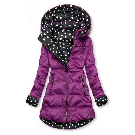 Oboustranná bunda fialová/tečkovaná