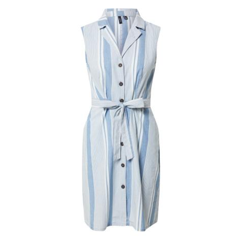 VERO MODA Košilové šaty 'Akelasandy' kouřově modrá / bílá