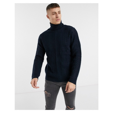 River Island roll neck chunky jumper in navy