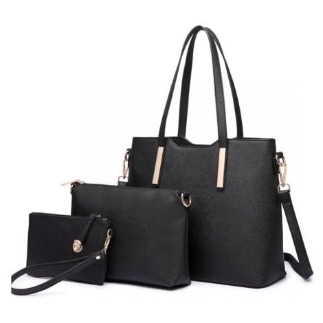 Černý praktický dámský 3v1 kabelkový set Manmie Lulu Bags