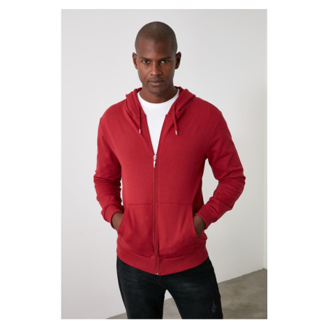 Trendyol Burgundy Men's Basic Hooded Zip-Up Sweatshirt