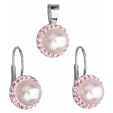 Sada šperků s krystaly Swarovski náušnice a přívěsek růžová perla kulaté 39091.3 Victum