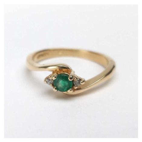 AutorskeSperky.com - 14 kt zlatý prsten se smaragdem a brilianty - S4250