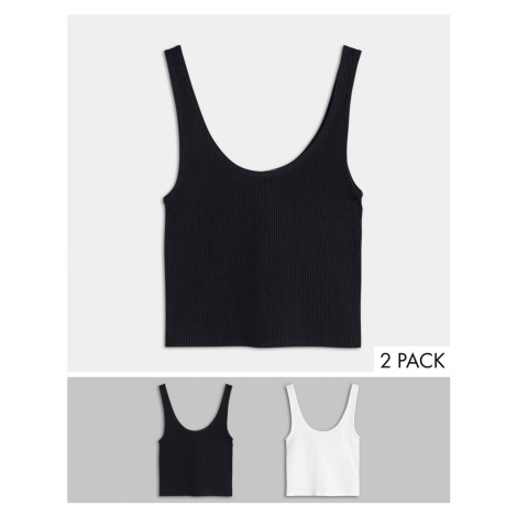 Stradivarius cropped vest top multi pack in black & white
