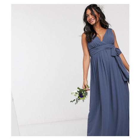 TFNC Bridesmaid Maternity top wrap chiffon dress-Navy