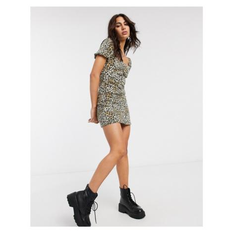 Bershka button through mini dress in leopard print-Tan