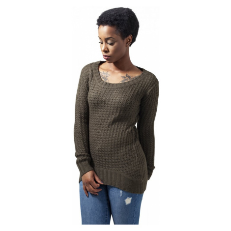 Ladies Long Wideneck Sweater - olive Urban Classics