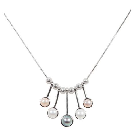 JwL Luxury Pearls Něžný stříbrný náhrdelník s pravými perličkami JL0459 (řetízek, přívěsek)