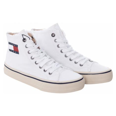 Tommy Jeans pánské bílé kotníkové plátěné tenisky Tommy Hilfiger