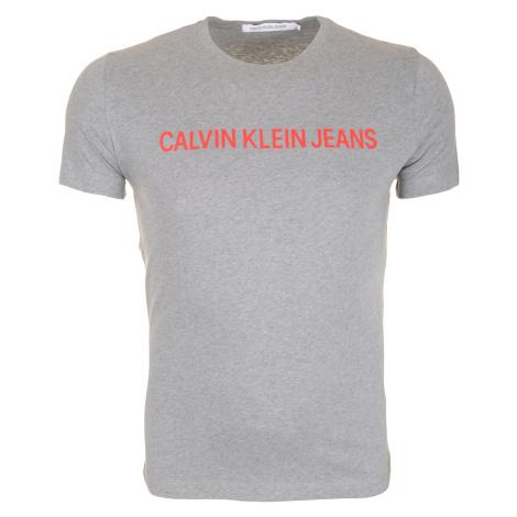 Pánské šedé tričko s nápisem Calvin Klein Jeans