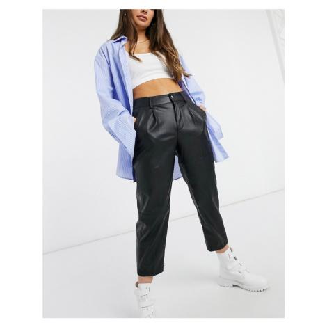 Bershka faux leather straight trouser in black