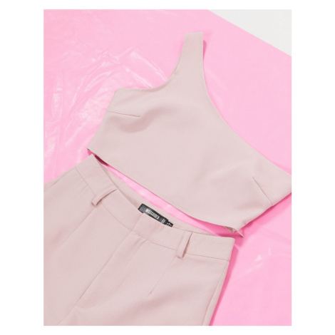 Missguided co-ord one shoulder crop top in mauve-Purple