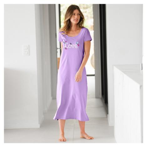 Blancheporte Dlouhá noční košile s potiskem love lila