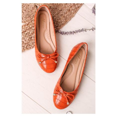 Oranžové balerínky s mašlí Mindy Mulanka