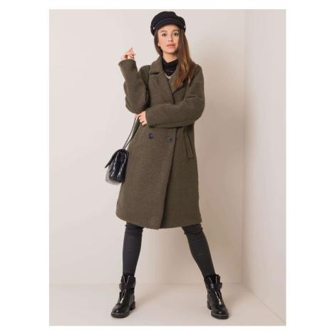 Khaki double-breasted coat Fashionhunters