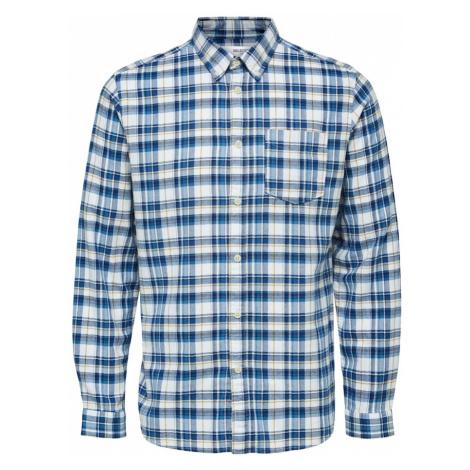 SELECTED HOMME Košile 'Zane' tmavě modrá / bílá / khaki