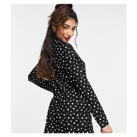 Wednesday's Girl long sleeve swing dress in polka dot-Black