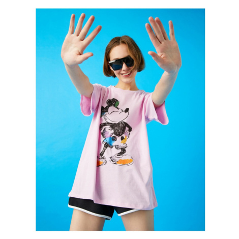 Koton Women's Purple Mickey Mouse T-Shirt Licensed Cotton