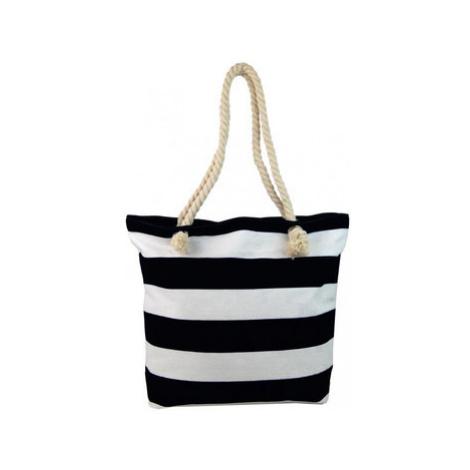 Cavaldi Černo-bílá lehká plážová taška přes rameno FB-01 Černá