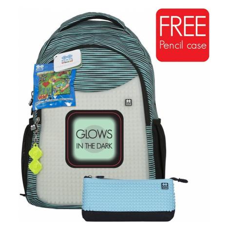 Pixie Crew školní batoh s penálem PXB-16 světle modrá/šedá svítící ve tmě