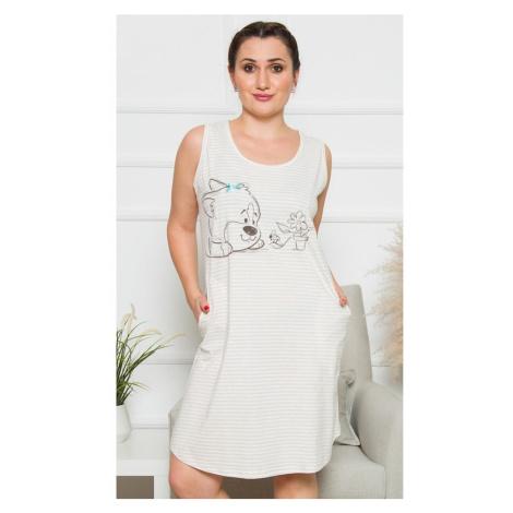 Dámské domácí šaty na ramínka Karolína, 1XL, béžová Vienetta Secret