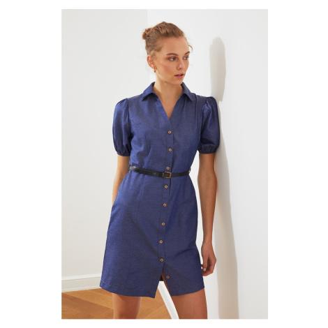 Trendyol Navy Blue BeltEd Shirt Dress