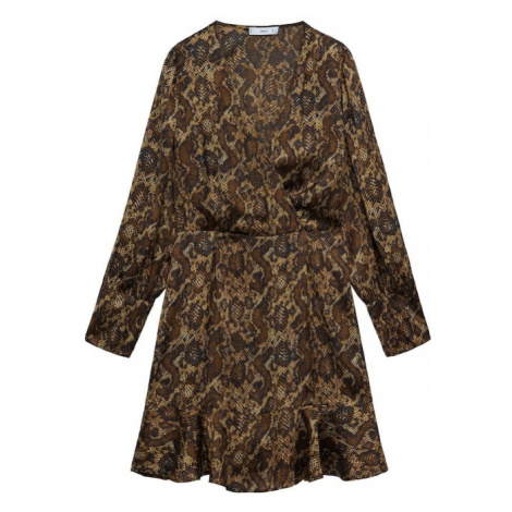 MANGO Šaty 'Miss' béžová / hnědá / černá