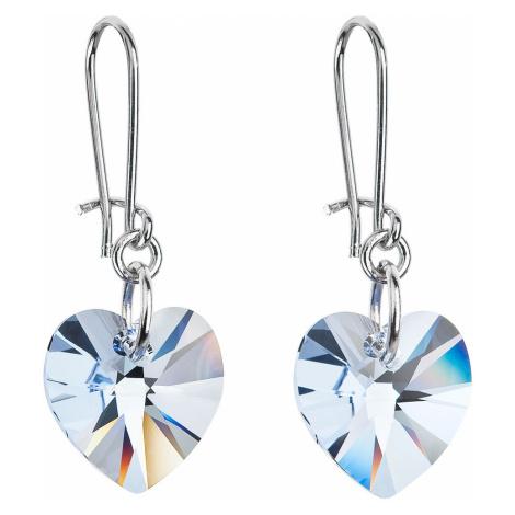 Náušnice bižuterie se Swarovski krystaly modrá srdce 56001.3
