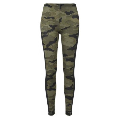 Legíny Urban Classics Ladies Camo Stripe Leggings - woodcamo/blk