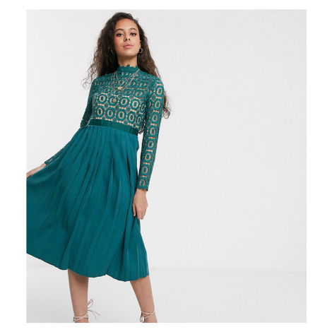Little Mistress Petite midi length 3/4 sleeve lace dress in kingfisher-Blue