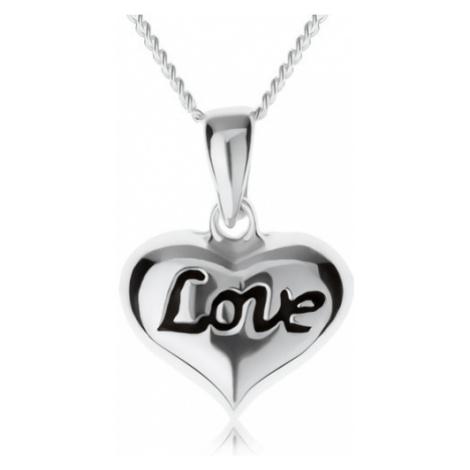 """Nastavitelný náhrdelník, srdíčko s nápisem """"Love"""", stříbro 925 Šperky eshop"""