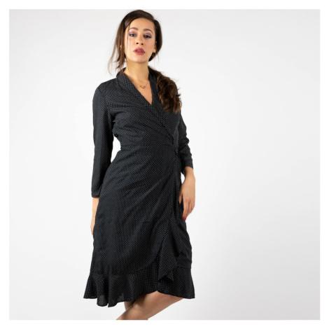 Černé zavinovací midi šaty Sany Pieces