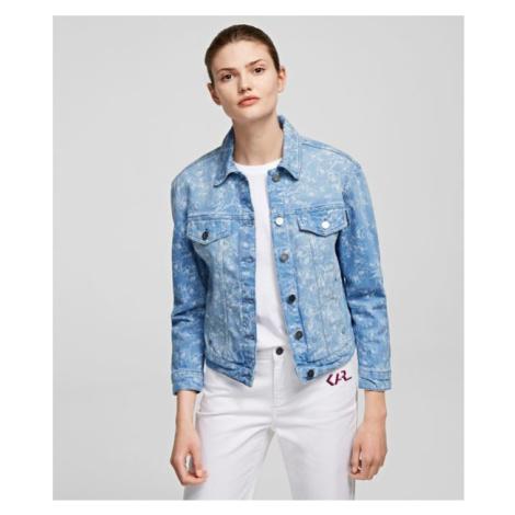 Bunda Karl Lagerfeld Orchid Printed Denim Jacket - Modrá