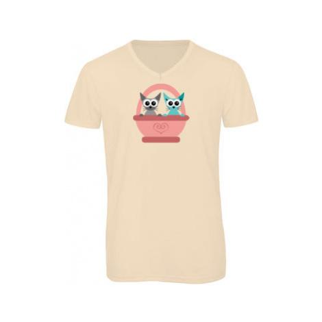 Pánské triko s výstřihem do V Kočky v košíku