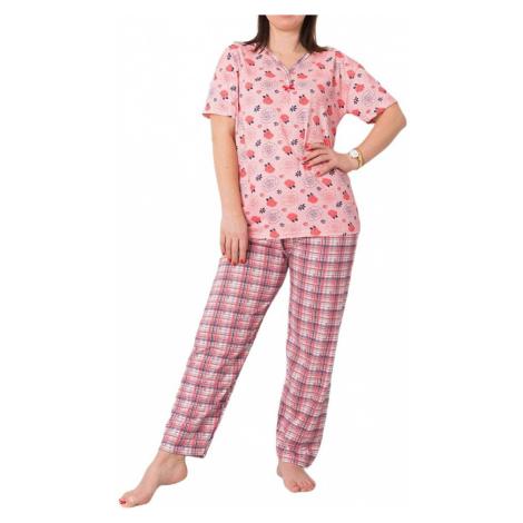 Růžové dámské pyžamo s květinami BASIC