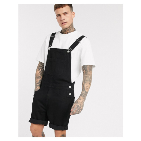 ASOS DESIGN denim dungaree shorts in black