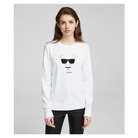 Mikina Karl Lagerfeld Ikonik Choupette Sweatshirt - Bílá