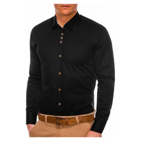 Pánská elegantní košile s dlouhým rukávem Jude černá Ombre Clothing