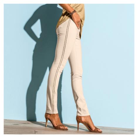 Kalhoty s lampasy béžová
