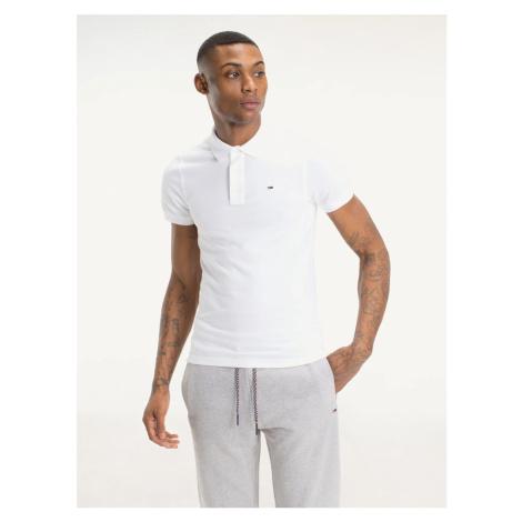 Tommy Jeans pánské bílé polo tričko Tommy Hilfiger