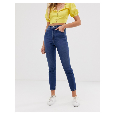 ASOS DESIGN recycled high rise farleigh 'slim' mom jeans in dark wash-Blue