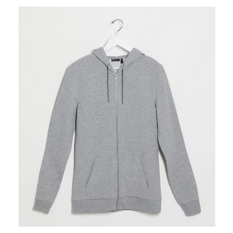 ASOS DESIGN Tall organic muscle zip up hoodie in grey marl