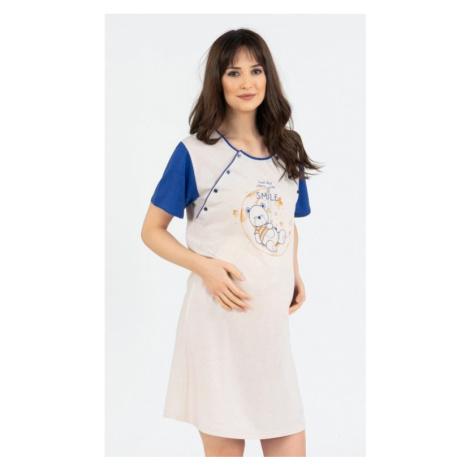 Dámská noční košile mateřská Vienetta Secret Méďa Smile | hnědá