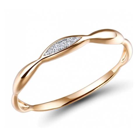 Minimalistický zlatý prsten 14k s diamanty zlato ryzost 585/1000
