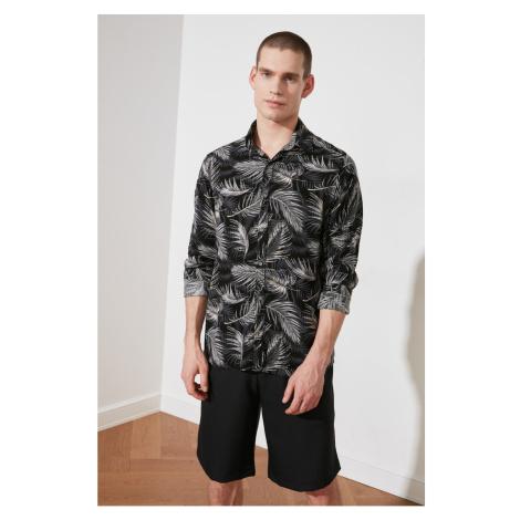 Trendyol Black Men's Regular Fit Shirt Collar Long Sleeve Patterned Cast Shirt
