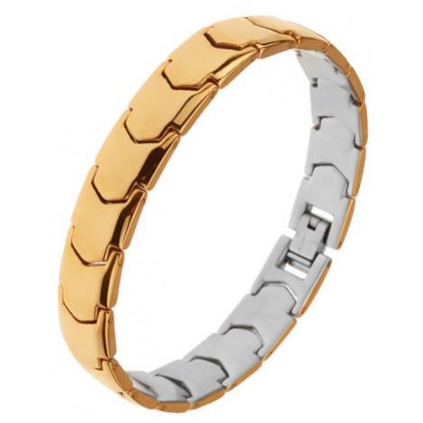 Ocelový náramek, zrcadlově lesklý povrch, články Y, zlatá barva Šperky eshop