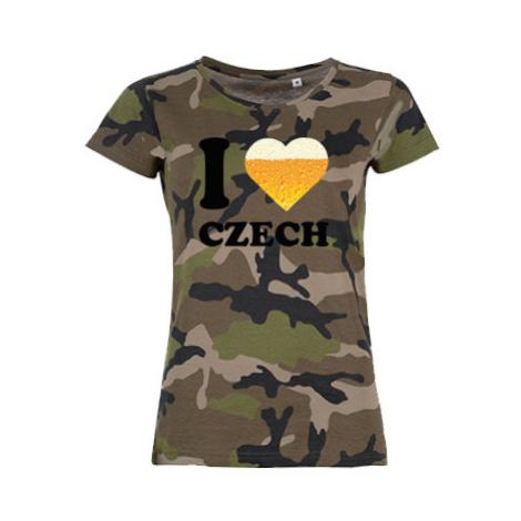 Dámské maskáčové tričko I love czech beer