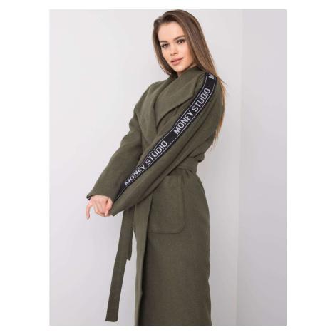Women´s khaki coat with a belt Fashionhunters