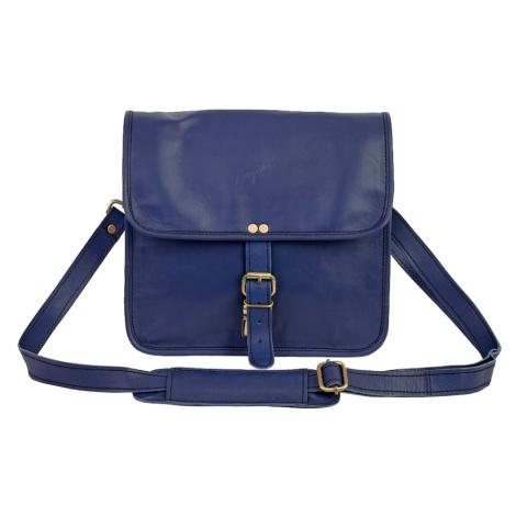 Bagind Indiana Atmos - Dámská i pánská kožená crossbody taška modrá, ruční výroba, český design